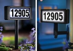 "Solar Powered Home Address Sign Yard Stake By Collections Etc by Collections. $12.99. 2 way solar address sign. Includes 4 sets of snap-on number (0-9) and solar recharing ""AA"" battery. Built-in solar collector powers light up address. Measures 8 1/4""L x 2 1/4""W x 26""H. Includes mounting hardware to stake into ground or attach to fence, mailbox or post. 2 Way Solar Address Sign: Built-in solar collector provides the power to light up your address on the marquee. Inclu..."