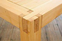 Wood joint inspiration, looks pretty straight forward.  Interlocking Tenon joint Japanese joinery