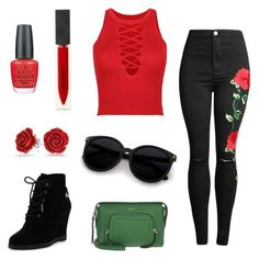"""""""Roses are Red"""" by mandy23b ❤ liked on Polyvore featuring WithChic, MICHAEL Michael Kors, OPI, Burberry, Bling Jewelry, DKNY, floral and roses"""