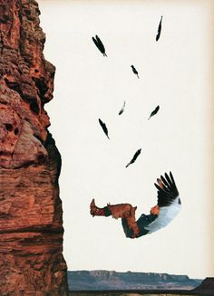 The Fall of Icarus; collage (2009); by Javier Piñon