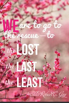 We are to go to-the lost, the last, the least. ~Elder Robert C. Gay.  Fill your life with service and love for All.