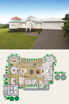 Love this single level floorplan! The heart of the home is so open with folding doors to the veranda. And look at the size of that master suite with parents' retreat! Plus a sunroom…this is the perfect country family home. #Queenslander #floorplan #rotunda #veranda #sunroom #parentsretreat