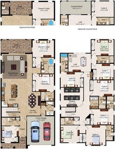Similar to other layout - master suite on ground level - easy access to kitchen from garage - bar counter - space upstairs - lots of bathrooms. Florida Resort Vacation Homes I Encore Club at Reunion - 10 Bedroom Homes 6 Bedroom House Plans, Family House Plans, Ranch House Plans, Craftsman House Plans, New House Plans, Dream House Plans, House Floor Plans, House Layout Plans, House Layouts