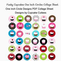Funky Cupcake One inch Circle Digital Collage Sheet - Printable Templates - Mygrafico.com