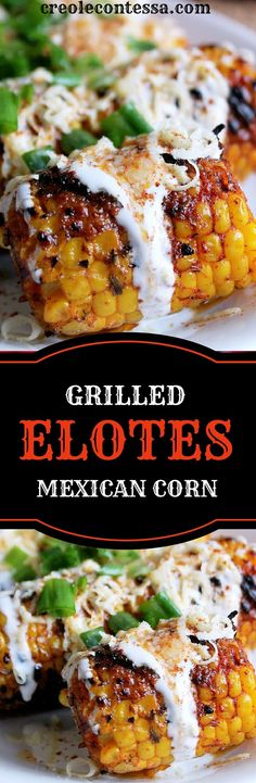 Grilled Elotes -Creole Contessa Shared by Career Path Design. Side Dishes For Bbq, Vegetable Side Dishes, Vegetable Recipes, Veggie Side, Mexican Dishes, Mexican Food Recipes, Mexican Corn, Mexican Grilled Corn, Grilled Cabbage