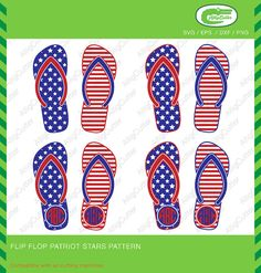 Flip Flop Patriot Stars Pattern Monogram Frames SVG by Alligcutter