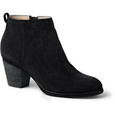 Lands' End Women's Harris Ankle Boots ($139) ❤ liked on Polyvore featuring shoes, boots, ankle booties, black, black suede bootie, suede bootie, short boots, black boots and black booties