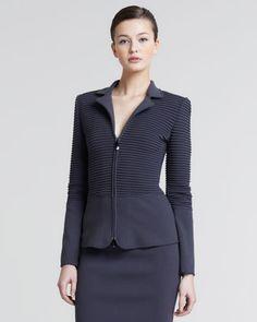 Giorgio Armani Ottoman Ribbed Zip-Front Jacket & Ottoman Pull-On Pencil Skirt - Bergdorf Goodman