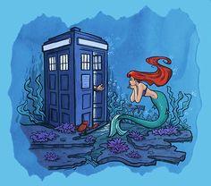 The Tardis meets Disney's princesses, by Karen Hallion.