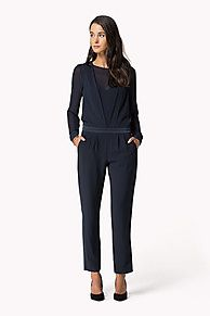 As selected by our guest editor, Alexa Chung.<br/><br/>Jumpsuit with detailed tailoring along the chest and waist for a flattering silhouette. Sheer chiffon sleeves, front and back panel insets create a layered look. Waistband with a slightly dropped waist, pleated trousers with slim, straight legs.<br/><br/>Our model is 1.76m and is wearing a size S Tommy Hilfiger jumpsuit.