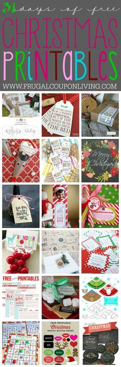 31 days of Free Christmas Printables on Frugal Coupon Living. You can jingle all the way to Christmas with these fabulous Printables, with everything from Elf on the Shelf to Gift Tags an Advent Calendar and MORE