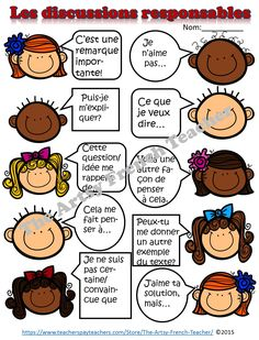 "LES DISCUSSIONS RESPONSABLES - Accountable Talk (en Français) - for use with ""Grand Conversations"", Math Talk, Inquiries, Debates for grade 2-8 French Immersion. www.teacherspayte... Large variety of Sentence Prompts and Stems, Vocab, Posters, Learning Goal, Success Criteria, Rubric, Debate worksheet. Teacher Notes in English, Student work in French."