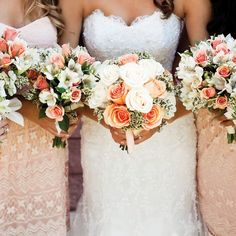 Peach and ivory wedding bouquets for the bride and bridesmaids; roses, alstroemeria, spray roses, and solidaster.