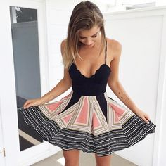 Adorable high waist summer dress from Pretty & Posh.