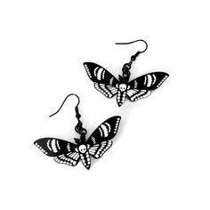 Gothic Jewelry Diy Deaths Head Moth Gothic Earrings by Curiology Gothic Earrings, Funky Earrings, Goth Jewelry, Skull Earrings, Skull Jewelry, Diy Jewelry, Handmade Jewelry, Fashion Jewelry, Steampunk Necklace