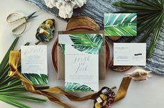 JARAUX SUITE / / faire-part de mariage Tropical feuille de