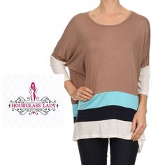 """PLUS 3X Taupe & Navy Colorblock dolman tunic Taupe & Navy Colorblock dolman tunic blouse Flattering, the dolman allows for comfort as well as being forgiving when it comes to a problem stomach area. 3/4 sleeves, colorblock stripes of cream, navy & taupe.  Pair with skinnies or leggings (matching Navy leggings also available) Soft jersey type 95% rayon, 5% spandex material, very stretchy  Size 3X Bust 37"""" across, 33"""" long New, no tags  ‼️PRICE FIRM UNLESS BUNDLED‼️ Create a bundle for 15%…"""