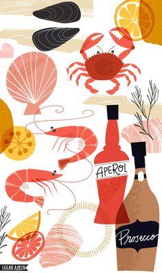 Summer food illustration, seafood and cocktails. Prawns and Aperol Spritz. - Summer food illustration, seafood and cocktails. Prawns and Aperol Spritz. Abstract Illustration, Crab Illustration, Cocktail Illustration, Lightroom, Photoshop, Aperol, Food Drawing, Arte Floral, Nocturne