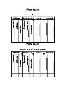 Decimal Place Value Chart Full Page  Decimal Places Chart And Math