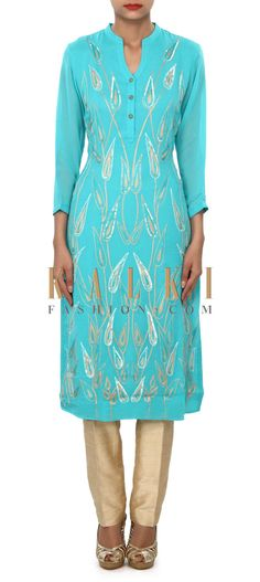 Buy Online from the link below. We ship worldwide (Free Shipping over US$100) Price- $59 Click Anywhere to Tag http://www.kalkifashion.com/sky-blue-kurti-embellished-in-resham-and-sequin-embroidery-only-on-kalki.html