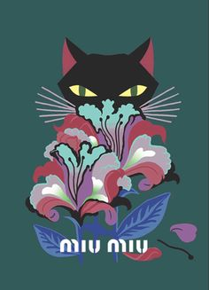 47fa2c6be331 A beautiful cat illustration by Jenne Detallante for the Miu Miu collection.  Catwoman