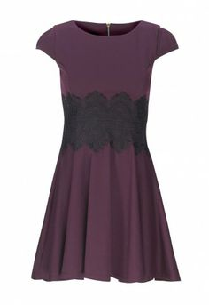 This skater dress is perfect for day or night. With black lace pattern, this cute dress is very flattering and is very fun and easy to wear.