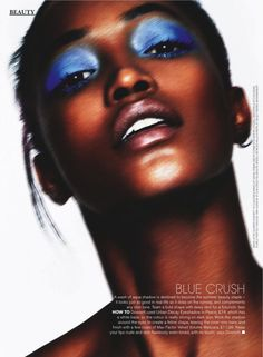 Blue Crush: A Wash of aqua shadow is destined to become the summer beauty staple - it looks just as good in real life as it does on the runway and complements any skin tone. Team a bold shape with dewy skin for a futuristic feel HOW TO Dowsett used Urban Decay Eyeshadow in Peace, 214, which has a white base, so the colour is really strong on dark skin. Work the shadow around the eyes to create a feline shape, leaving the inner rims base, and finish with a few coats of Max Factor Velvet…
