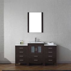 Virtu USA Dior 60-inch Ceramic Single Bathroom Vanity Set with Faucet Options