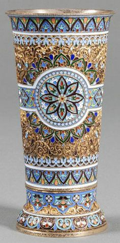 RUSSIAN GOLD BEAKERS | Russian gold washed silver and enamel beaker by Pavel Akimov ...
