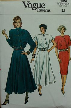 oh yeah.... asymmetrical buttons and shoulder pads....HUGE shoulder pads !!!  Definitely the height of style back in the day. 1980s!   Dress Asymmetrical Buttoned Closing Vogue Pattern