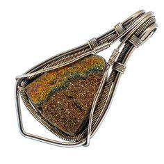 "Rainbow Pyrite Druzy 925 Sterling Silver Pendant 2 1/4"" PD552749"