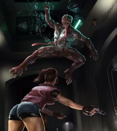 Fighting a Licker from Resident Evil!