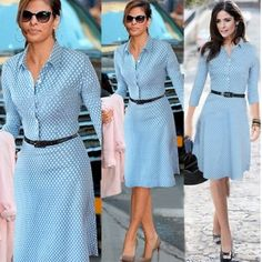 Turndown Collar Long Sleeve Single-breasted Polka Dots Print Blue Knee Length Dress with Waistbelt