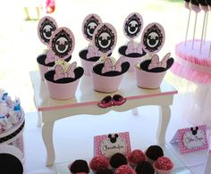 Minnie Mouse birthday party cupcakes! See more party ideas at CatchMyParty.com!