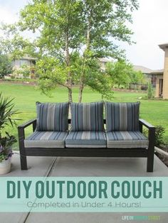 Learn how to quickly make this DIY outdoor couch using only 4x4's from the lumber store! Step-by-step tutorial makes a great sofa in under 4 hours!