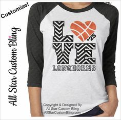 Glitter Love Basketball Chevron Tri-Blend Raglan, Custom Basketball Raglan, Basketball Mom Raglan, Basketball Shirt by AllStarCustomBling on Etsy