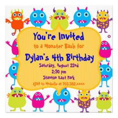 1000+ images about Cute Custom Birthday Party Invitations ... Cute Monster Birthday Party Invitation Templates