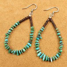 Native American Santo Domingo Turquoise Heishi Beads Hoop 925 Silver Earrings #Unbranded