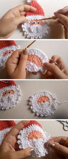 Crochet Santa Applique – Christmas Pattern - Crochet and Kni.-Crochet Santa Applique – Christmas Pattern – Crochet and Knitting Patterns - Crochet Christmas Decorations, Christmas Crochet Patterns, Crochet Ornaments, Holiday Crochet, Baby Christmas Crafts, Crochet Christmas Wreath, Beau Crochet, Crochet Santa, Crochet Gifts