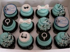 love these cupcakes! your mom and i could contact a local bakery and see if they could do some special breakfast at tiffany's cupcakes for us Tiffany Theme, Tiffany Party, Cute Cupcakes, Cupcake Cookies, Party Cupcakes, Themed Cupcakes, Beautiful Cupcakes, Bling Cupcakes, Bridal Cupcakes