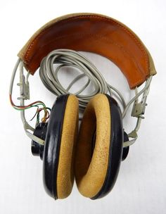 WWII US Navy USN ANB-H-1A C.T.E Radio Headset Headphones - USN Marked