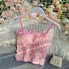Floral Tops, Spaghetti Strap Top, Kpop Fashion Outfits, Short Tops, Cute Casual Outfits, Tote Bag, Tank Tops, Three Dimensional, Woman Clothing