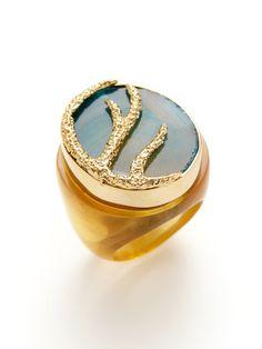Isharya Green Turquoise Druzy & Gold Ring