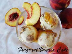 Raw Peach Cobbler Ice Cream from Fragrant Vanilla Cake (Vegan) Raw Dessert Recipes, Raw Desserts, Raw Vegan Recipes, Dessert Drinks, Frozen Desserts, Healthy Desserts, Whole Food Recipes, Raw Ice Cream, Paleo Ice Cream