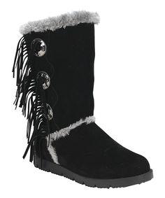 Black Mammoth Tassel Boot - Women