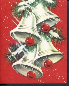 Old Christmas Card Snow on Silver Bells Pollyanna Cards Greeting Card Company