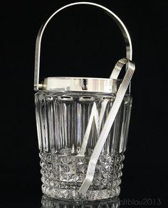 Ice Bucket Crystal glass Vintage Mid century by cobaltblau2013