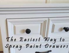 Quickest way to spray paint drawers & frame simultaneously. Trick is to pull drawers only partially out and how to protect insides. Furniture Projects, Furniture Making, Furniture Makeover, Home Projects, Home Furniture, Furniture Refinishing, Antique Furniture, Modern Furniture, Painting Tips