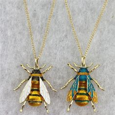 This charming Drop oil multiple color bee necklace is available in two striking metal colors; silver and ocean blue with fine gold detailing.  ✅ Free Delivery Get it now:   #bumblebee #womenjewelry #womenfashion #dropoil #multicolor #bee #necklaces #pendants Pretty Necklaces, Metal Necklaces, Silver Necklaces, Gold Necklace, Pendant Necklace, Bumble Bee Necklace, Necklace Types, Necklace Designs, Gold Pendant