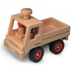 Fagus Basic Wooden Toy Truck made in Germany. Beechwood with real rubber tires. Top knob steers wheels.